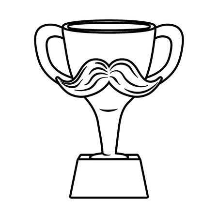 trophy with moustache black and white