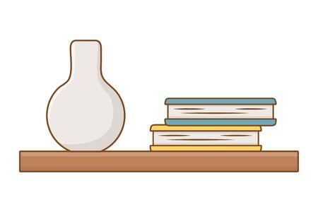 Isolated shelf with books design vector illustration 일러스트