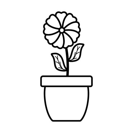 cute flower and leafs plant in ceramic pot Ilustracja