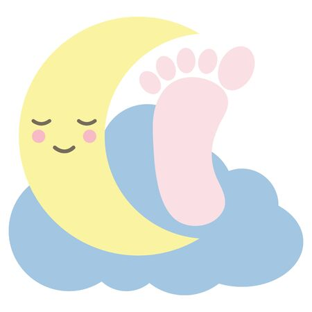 baby voetafdruk met maan karakter Vector Illustratie