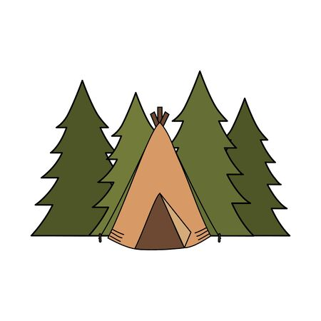 camping tent with forest landscape Çizim