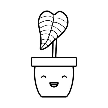 house plant in ceramic pot character Ilustracja