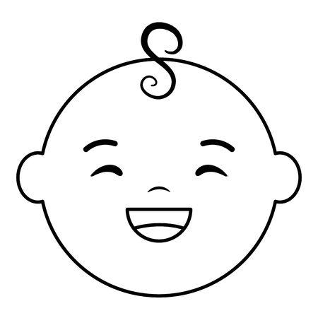 cute little baby boy head character Çizim