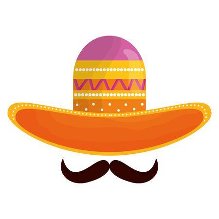 sombrero mexicano con bigote icono tradicional Ilustración de vector