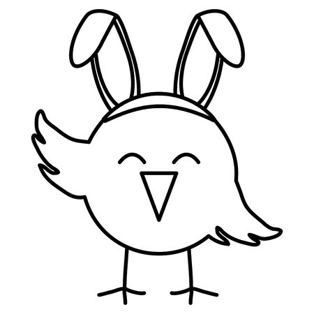 cute little chick with rabbit ears easter character