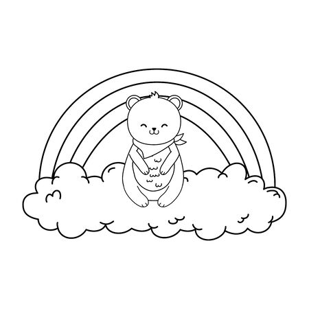 cute bear panda in the clouds with rainbow