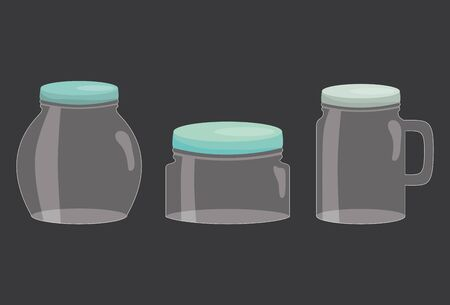 set of mason jars colorful vector illustration design