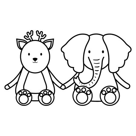 cute elephant and reindeer characters
