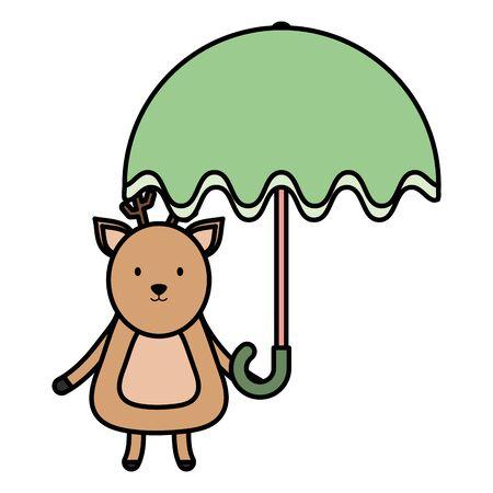 cute reindeer with umbrella childish character vector illustration design