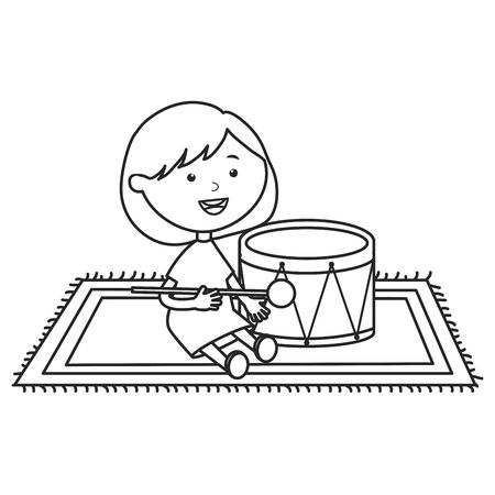 cute little girl playing with drum