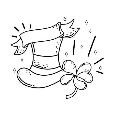 cute leprechaun hat with clovers Stock Illustratie