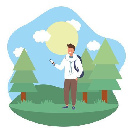 Millennial student wearing hoodie and background outdoors texting using smartphone grass and trees nature background frame vector illustration graphic design