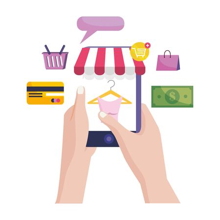 Hand holding smartphone design, Store shopping online ecommerce media market and internet theme Vector illustration