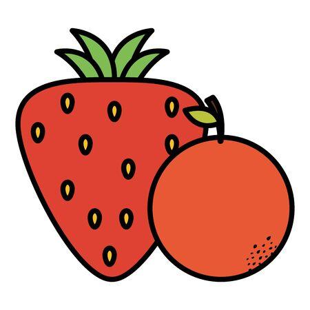 strawberry and orange fresh fruits