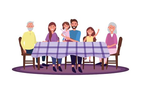 family in the table avatar cartoon character sitting vector illustration graphic design  イラスト・ベクター素材
