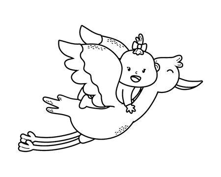 cute baby shower baby over stork cartoon vector illustration graphic design Standard-Bild - 130944618
