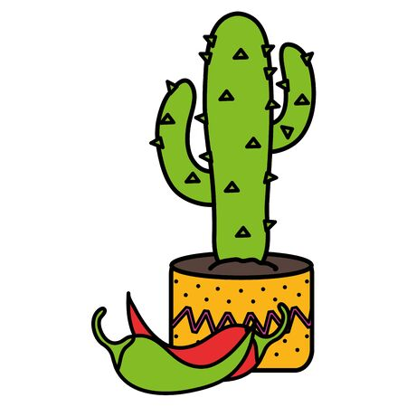 mexican cactus plant with chilli peppers