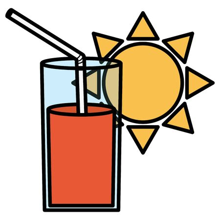 glass of juice fruit and straw with sun