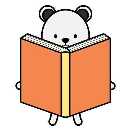 cute polar bear reading book character Zdjęcie Seryjne - 132611231