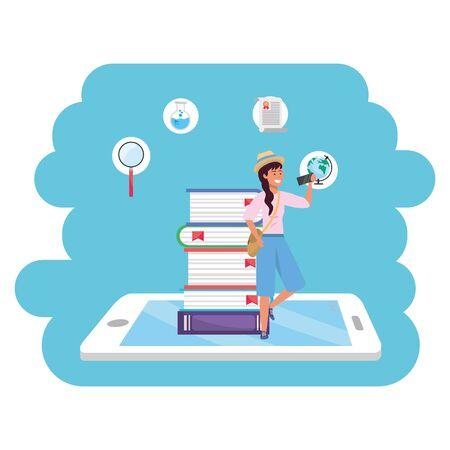 Online education millennial student tablet splash frame