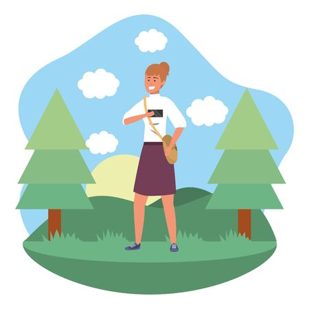 Millennial student redhead woman wearing skirt outdoors texting using smartphone grass and trees nature background frame vector illustration graphic design Ilustração