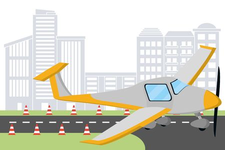 transportation concept small plane at airport runway in front city landscape cartoon vector illustration graphic design