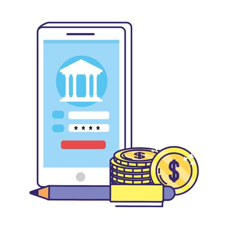 saving money finance concept with technology device and bank elements cartoon vector illustration graphic design Çizim
