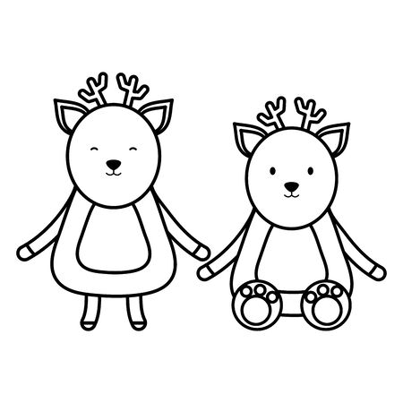 cute reindeer couple childish characters
