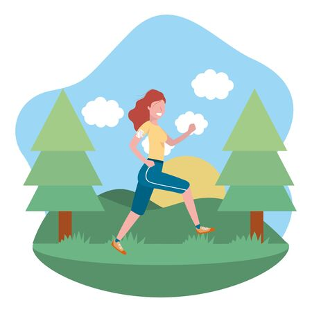 fitness exercise woman running workout healthy fit lifestyle outdoor scene cartoon vector illustration graphic design