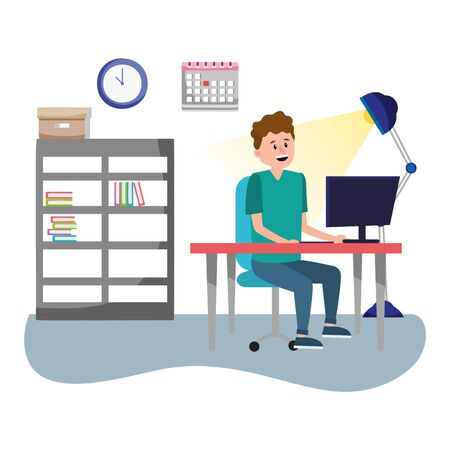 online education man with desk computer cartoon vector illustration graphic design
