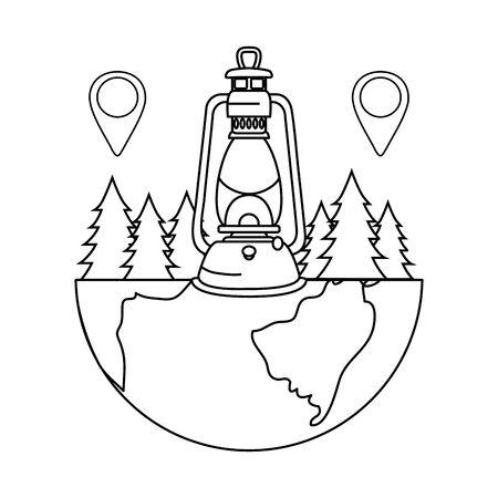 pines trees forest scene with kerosene lantern vector illustration design