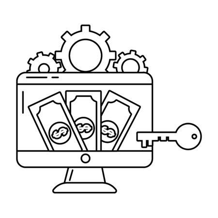 saving money business accounting finance technology digital payment elements cartoon vector illustration graphic design Фото со стока - 132102967