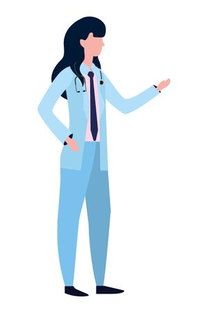 healthcare medical doctor woman cartoon vector illustration graphic design