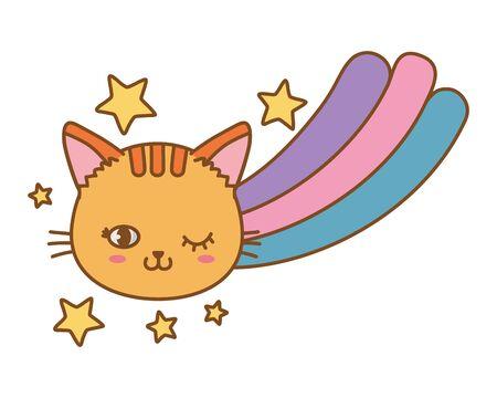 cat and rainbow icon cartoon vector illustration graphic design