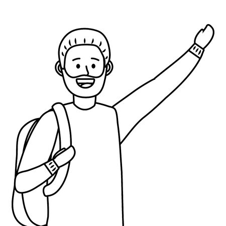 young happy man raised hand cartoon vector illustration graphic design