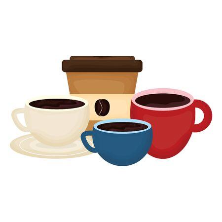 delicious coffee in cup and plastic container vector illustration design Illusztráció