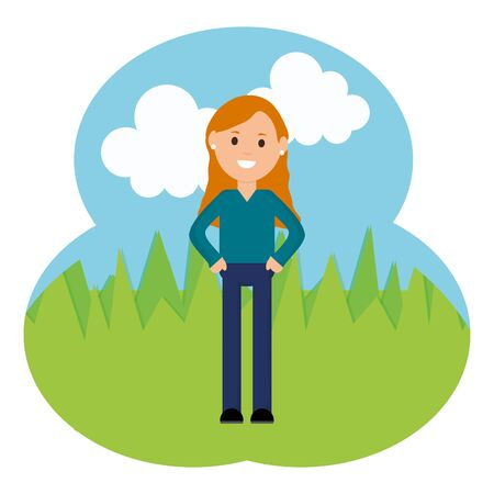 young woman in the landscape vector illustration design