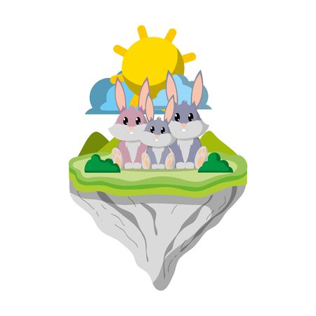 family rabbit animal in float island vector illustration