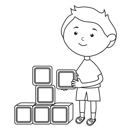 cute little boy with blocks vector illustration design