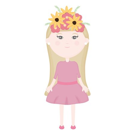 cute little girl with floral crown in the hair character vector illustration design