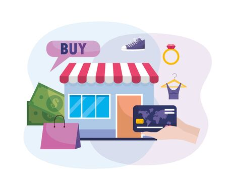 online market to buy technology and credit card vector illustration