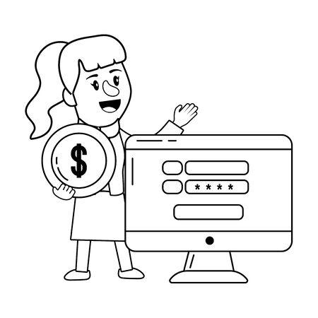 Businesswoman banking financial planning black and white Çizim