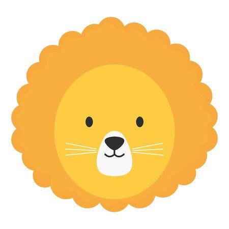 cute lion head childish character