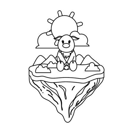 line female deer animal in float island Stock Illustratie
