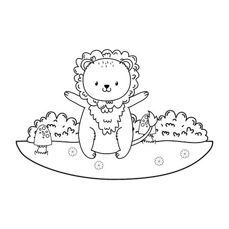 cute lion woodland in the field character Stock Illustratie