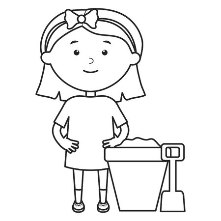 cute little girl playing with sand bucket vector illustration design