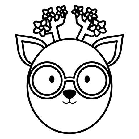 cute female reindeer childish character vector illustration design Stock Illustratie