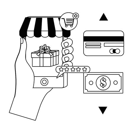 Smartphone and hand design, Store shopping online ecommerce media market and internet theme Vector illustration 일러스트