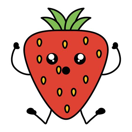 delicious strawberry fruit kawaii character Ilustracja