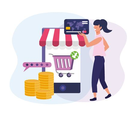 woman with credit card and smartphone ecommerce